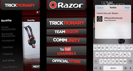 Download the free Razor Trickshare app