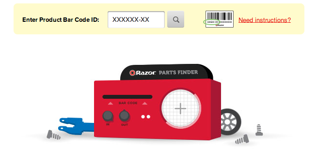 Search the Razor Parts Finder